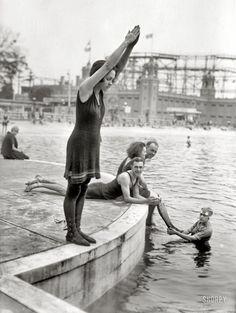 """Starlight Park, the Bronx, circa 1921. """"Joan Desborough (ready for a dive).""""  G. G. Bain Collection.  S)"""