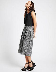 Zebra Print A-Line Midi Skirt