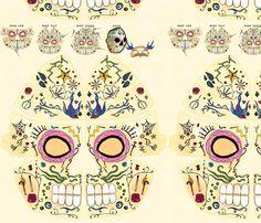 Sugar Skull Mask fabric by leighr on Spoonflower - custom fabric