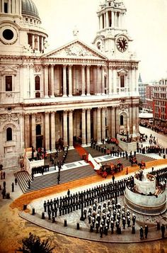 A lovely shot from a distance: Lady Diana Spencer arrives at St Paul's Cathedral, London, England, for her wedding, July 29th, 1981.