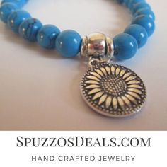 Beautiful Natural Blue Howlite Stone With Silver Sunflower Charm Bracelet.  Check out SpuzzosDeals.com #jewelry #spuzzosdeals #necklace #necklaces #bohostyle #bohostyles #hippie #hippies  #neckless #bohostyles #bracelet #bracelets #surfers #surfing  #mens