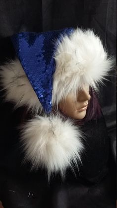 200c23b968f Limited Edition Royal Blue Sequin Santa hat with luxury white Sequin  Fabric