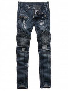 Zippered Ribbed Insert Straight Leg Ripped Jeans