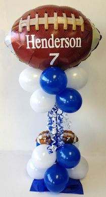 Birthday Balloon Bouquet Delivery ~ Balloon Bouquets ~ Tulsa, OK Football Centerpieces, Bar Mitzvah Centerpieces, Balloon Centerpieces, Balloon Decorations, Birthday Party Decorations, Balloon Ideas, Football Birthday, Sports Birthday, Boy Birthday