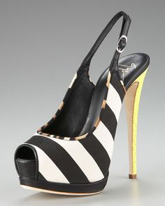 Striped Canvas Platform Sandal by Giuseppe Zanotti at Neiman Marcus.