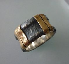 Sterling SIlver and 9K Gold Ring Oxidized ring Ring by GenJewel, $132.00