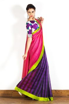 An eclectic take on a saree - purple, pink and neon green. Love it - especially the blouse! #indianwedding