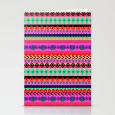 FREE SHIPPING WORLDWIDE ENDS 28/10 Tribal Stripe Stationery Cards by Amy Sia