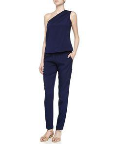 Lulu One-Shoulder Jumpsuit, Women's, Size: X-SMALL, Navy - Ramy Brook