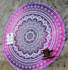 Indian Ombre Round Mandala Hippie Tapestry Roundie Beach Throw Yoga Mat Tapestry