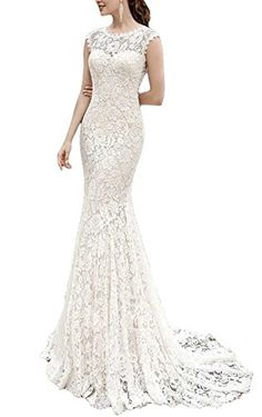 Meledy Women's Lace Mermaid Formal Wedding Dress Court Trains for Bride Open Back Sleeveless Long Bridal Gowns Ivory US02 >>> Continue to the product at the image link.