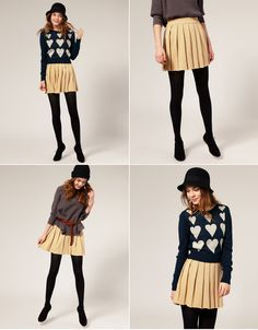 really loving this heart sweater/pleated skirt combination Heart Sweater, Cute Sweaters, Mini Skirts, Pleated Skirts, Fall Looks, Cute Fashion, Fashion Details, Playing Dress Up, Her Style