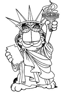 garfield is similar to the statue of liberty coloring page