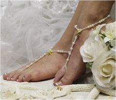 barefoot sandals starfish | gold pearl barefoot sandals | key west beach wedding