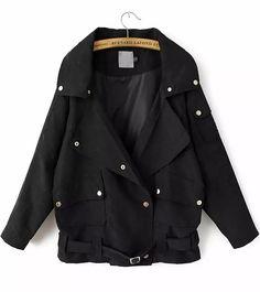 Black Lapel Long Sleeve Buttons Coat 26.67