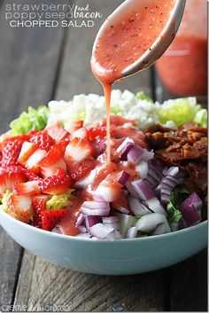 Strawberry, poppyseed and bacon chopped salad!