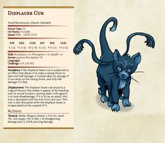 Displacer Beast cub = Chaotic Adorable, by Dissonant Whispers – DnD Homebrew Dnd Dragons, Dungeons And Dragons Game, Dungeons And Dragons Homebrew, Fantasy Creatures, Mythical Creatures, Monsters Rpg, Dnd Stats, Dnd Stories, Dnd Races