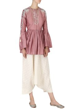 EK SOOT Dark Mauve Peplum Top and Draped Pants Set.Shop now! #eksoot #mauve #peplumtop #peplum #top #ethnic #fashion #indianfashion #indiandesigners #perniaspopupshop #happyshopping