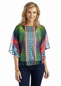 Ruby Rd Woven Mixed Print Blouse