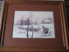 BUCKLEY MOSS WINTERS RUN LIMITED EDITION 205/1000 PRINT, SIGNED, W/WOODEN FRAME