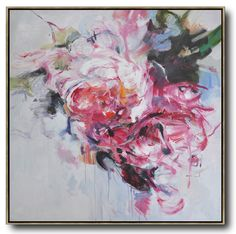 Abstract flower oil painting on canvas by CZ Art Design