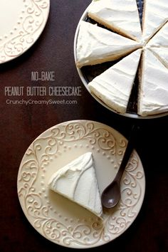 No-Bake Peanut Butter Cheesecake - one amazing cheesecake that is no-bake and perfect for peanut butter lovers! Also, celebrate the National Cheesecake Day with your favorite food bloggers! #cheesecake #dessert