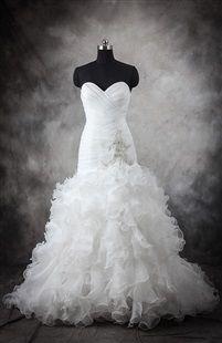 Organza Mermaid Pleated Ruffles Wedding Gown. Wedding dresses starting at $80.00