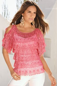 Cold-Shoulder Crochet Salsa Sweater by Boston Proper - Found on HeartThis.com @HeartThis