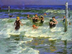 Bathing in the Surf by Edward Potthast #art