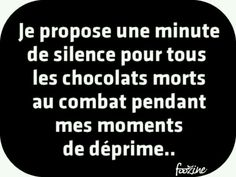I ask a minute of silence for all the chocolates who died in combat during my low/depressed moments. The Words, Cool Words, Best Quotes, Funny Quotes, Quotes About Everything, Quote Citation, French Quotes, Love Messages, Life Humor