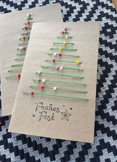 DIY Christmas Cards That Family & Friends Will Love! – Tracy McKenzie DIY Christmas Cards That Family & Friends Will Love! Yarn and Pony Bead Christmas Tree Cards Christmas Cards Handmade Kids, Christmas Tree Cards, Noel Christmas, Christmas Ornaments, Christmas Decorations Diy For Kids, Creative Christmas Cards, Ornaments Ideas, Elegant Christmas, Childrens Christmas Card Ideas