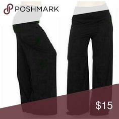 High Waist Black Palazzo Wide Leg Plus Size Pants Black elastic waist with fold over high waist. Wide leg. Composed of soft polyester spandex material. Waist side to side measurements 16 and 32 around the waist but very stretchy.  Made in USA 95% polyester 5% spandex Inseam 32.6 inches Brand new with Plussizeforless hangtag plussizeforless Pants Wide Leg