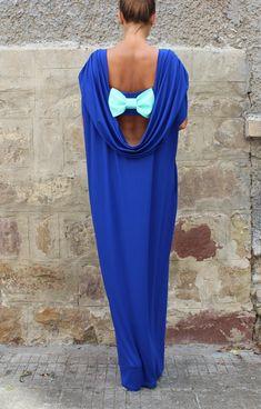 Royal Blue Backless dress Maxi Dress Caftan by cherryblossomsdress