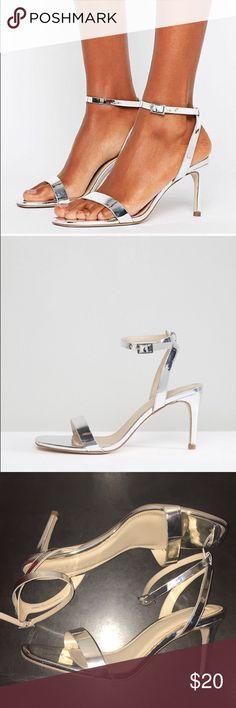 "ASOS Metallic heels ⭐️Metallic silver heeled sandals ⭐️3"" heel ⭐️Worn one night for prom ASOS Shoes Heels"