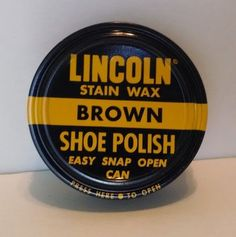 ORIGINAL vintage ADVERTISING tin LINCOLN SHOE POLISH WAX