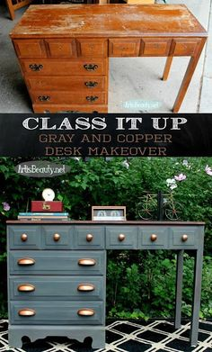 Gray and Copper Desk Makeover ~The Fab Furniture Flippin' Contest - Diy Furniture Beds Ideen Refurbished Furniture, Paint Furniture, Repurposed Furniture, Furniture Projects, Furniture Making, Diy Projects, Furniture Stores, Furniture Outlet, Furniture Refinishing
