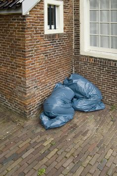 I'm not sure if this is purple in trash bags or trash bags shaped like people.  Either way,  I don't trust it!
