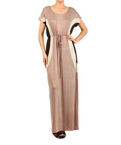 J-Mode USA Los Angeles Taupe Waist-Tie Maxi Dress with Dark Brown & Cream Accents   zulily