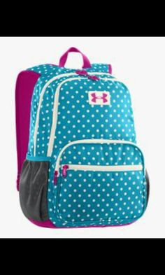 Blue and pink polka dot under armour bookbag