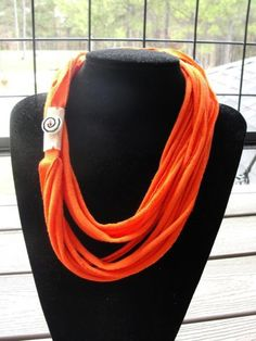 Bright Orange Tshirt Necklace Infinity Scarf by texaseagle, $4.20 USD