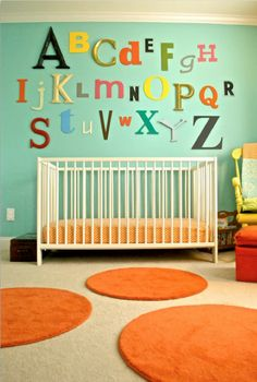 Bare walls, be gone! Check out these inspirational ideas for adding interest to your bambino's room. Nursery Ideas Neutral Small, Baby Nursery Neutral, Girl Nursery, Orange Nursery, Bright Nursery, Neutral Nurseries, Nursery Room, Nursery Decor, Nursery Design