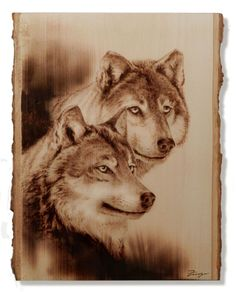 Pyrographie, Wood Burning, Wolves on Bass Wood.
