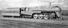 New York Central 4-6-4 Hudson streamlined steam locomotive # 5453, is seen in the railroad yard at Harmon, New York, 1938