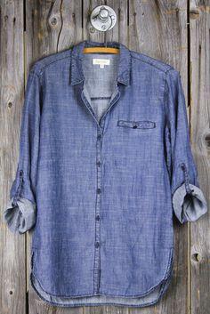 Grinded Tencel Welt Pocket Denim Shirt