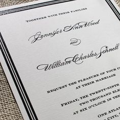 Modern Wedding Invitations  The Modern wedding invitation is classic, timeless, and chic.    The Modern wedding invitation is available in letterpress, thermography, digital or offset printing. Photo shows invitation suite pared with a patterned envelope liner.