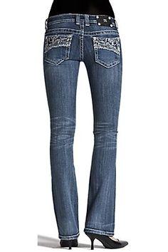 Miss Me Ladies Lacey Crystal Boot Cut Jean