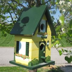 Custom Hand Painted Birdhouse by PaintBrushedBoutique on Etsy