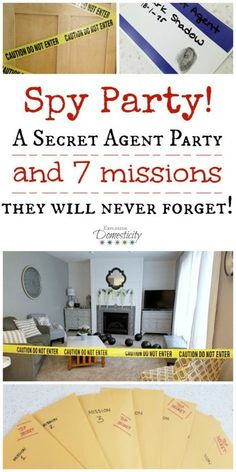 Party: A Secret Agent Birthday Party they will Never Forget! Spy Party - A Secret Agent Party and 7 missions they will never forget!Spy Party - A Secret Agent Party and 7 missions they will never forget! Geheimagenten Party, Spy Birthday Parties, Craft Party, Birthday Fun, Party Time, Spy Kids Party, Spy Games For Kids, Secret Agent Activities For Kids, Party Ideas For Kids