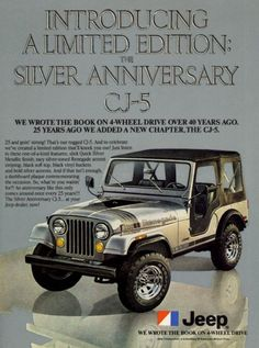 "A full size color 1979 advertisement for the Jeep Renegade. The limited edition Silver Anniversary CJ-5. -An 1979 Jeep Renegade promotional advertisement -Measures: 8"" x 11"", original size -Limited pr"