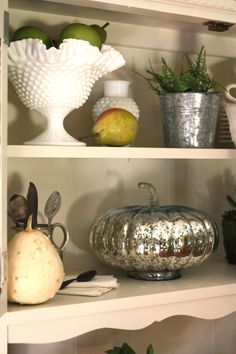 Milk Glass from #Goodwill keeps decorating for fall nice and simple. #thrift #decor #vintage #home